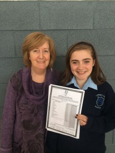 Well done Aoife Daly on achieving a wonderful 11 As in her Junior Cert